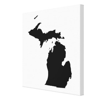 Michigan in Black and White Stretched Canvas Print