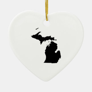 Michigan in Black and White Christmas Ornament