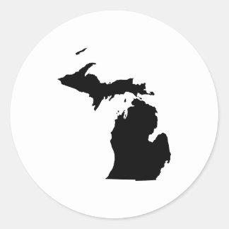Michigan in Black and White Classic Round Sticker