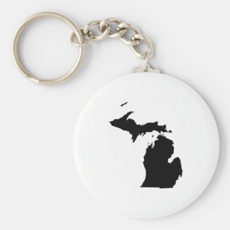 Michigan in Black and White Key Ring