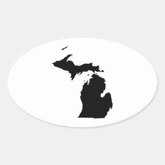 Michigan in Black and White Oval Sticker