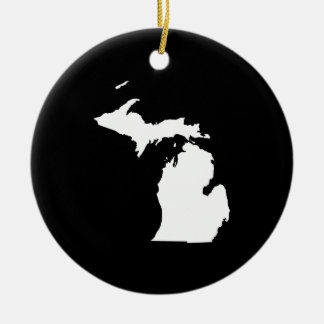 Michigan in White and Black Christmas Ornament
