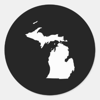 Michigan in White and Black Classic Round Sticker