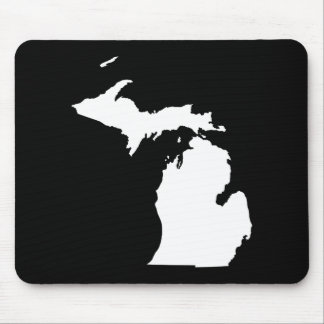 Michigan in White and Black Mouse Mat