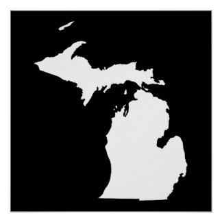 Michigan in White and Black Poster