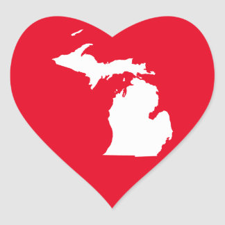 Michigan in White and Red Heart Sticker