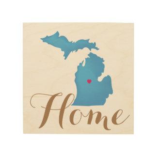 Michigan is Home custom heart location Wood Wall Decor