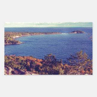 Michigan Lake Superior Scene Rectangular Sticker