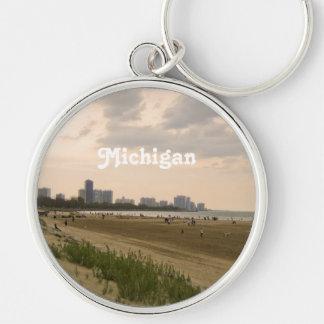 Michigan Landscape Silver-Colored Round Key Ring