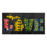 Michigan Love Recycled License Plate Art Map Poster