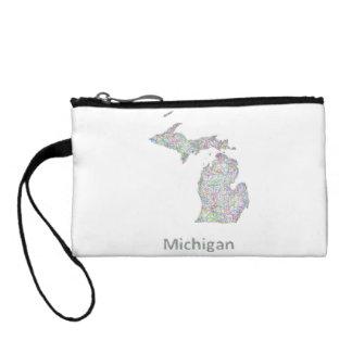 Michigan map coin wallet