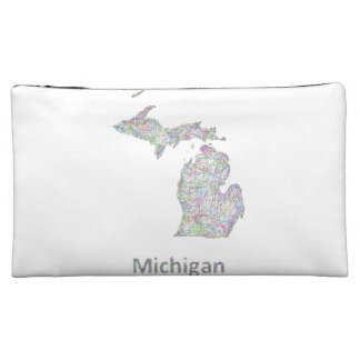 Michigan map cosmetic bags