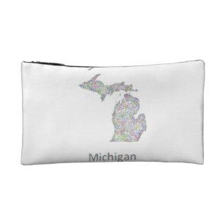Michigan map cosmetics bags