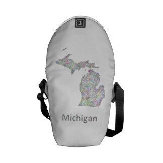 Michigan map courier bag