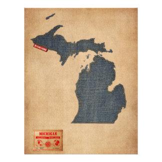 Michigan Map Denim Jeans Style Flyers