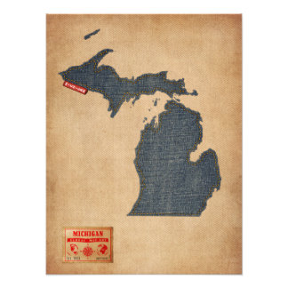 Michigan Map Denim Jeans Style Photograph
