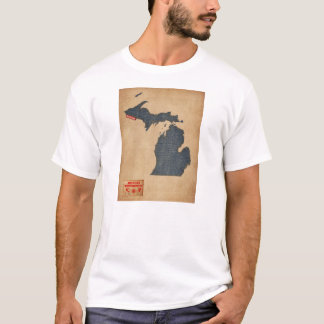 Michigan Map Denim Jeans Style T-Shirt