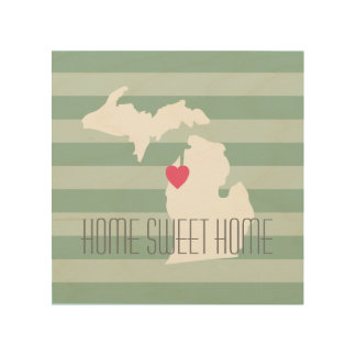 Michigan Map Home State Love with Custom Heart Wood Wall Art