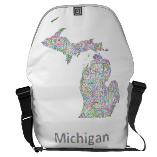 Michigan map messenger bags