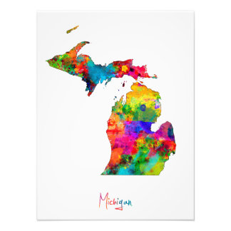 Michigan Map Photo Print