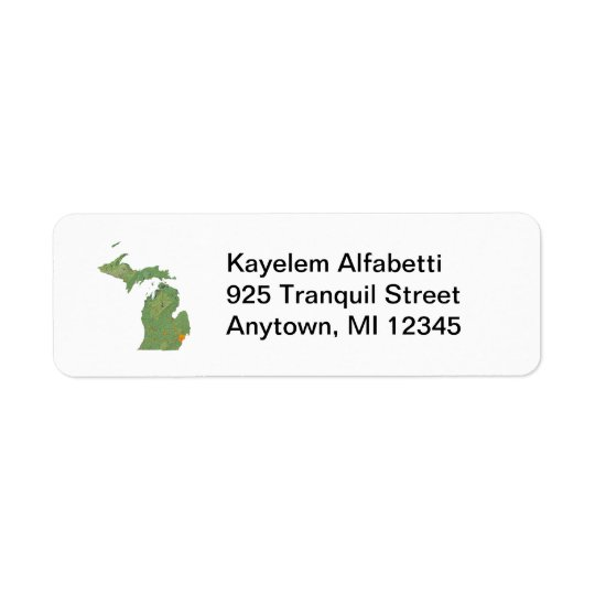 Michigan Map Return Address Label