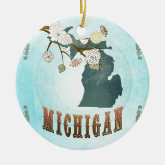 Michigan Map With Lovely Birds Round Ceramic Decoration