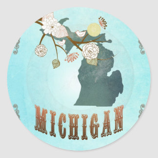 Michigan Map With Lovely Birds Round Sticker