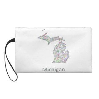 Michigan map wristlet clutch