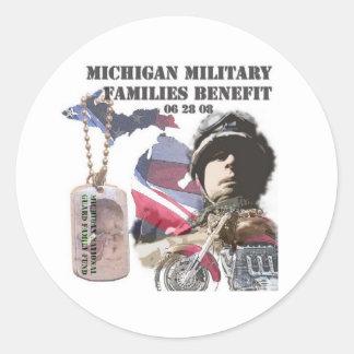 Michigan Military Families Benefit Round Sticker