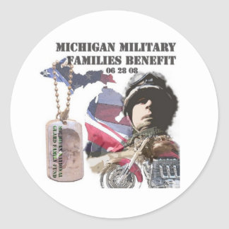 Michigan Military Families Benefit Round Stickers