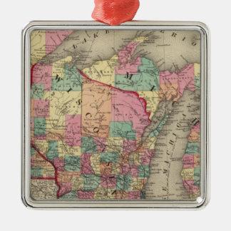 Michigan, Minnesota, and Wisconsin Silver-Colored Square Decoration