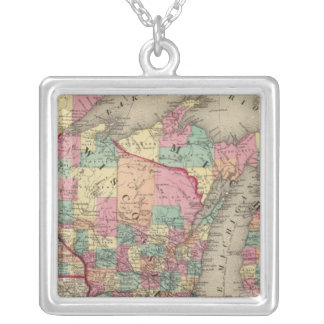 Michigan, Minnesota, and Wisconsin Silver Plated Necklace