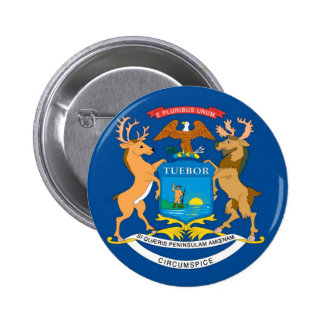 Michigan  Official State Flag 6 Cm Round Badge