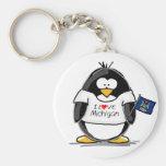 Michigan penguin basic round button key ring