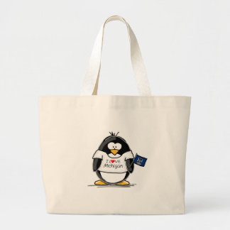Michigan penguin large tote bag