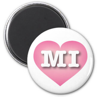 Michigan Pink Fade Heart - Big Love 6 Cm Round Magnet