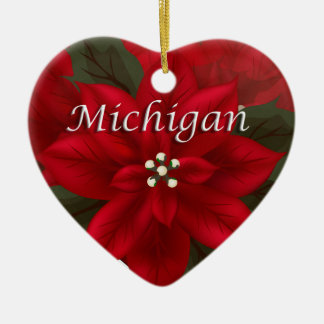 Michigan Poinsettia Heart  Keepsake Ornament