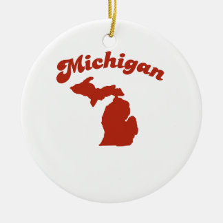 MICHIGAN Red State Double-Sided Ceramic Round Christmas Ornament