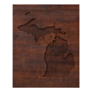 Michigan | Red Wood Carving Poster