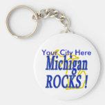 Michigan Rocks ! Basic Round Button Key Ring