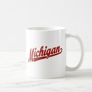 Michigan script logo in red coffee mug