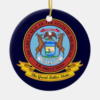 Michigan Seal Round Ceramic Decoration