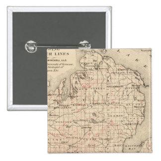Michigan showing contour lines 15 cm square badge