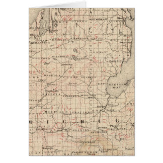 Michigan showing contour lines greeting card