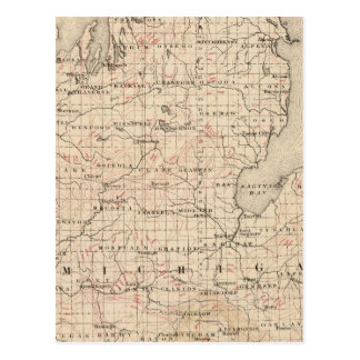 Michigan showing contour lines postcard