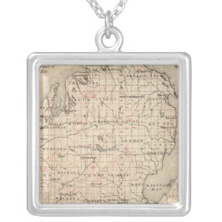 Michigan showing contour lines silver plated necklace