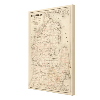 Michigan showing contour lines stretched canvas print