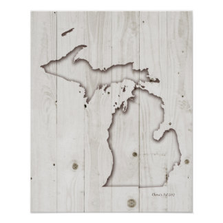 Michigan Silhouette | White Wood Carving Poster