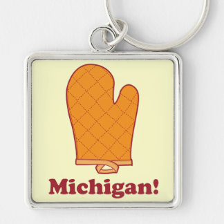 Michigan Silver-Colored Square Key Ring
