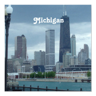 "Michigan Skyline 5.25"" Square Invitation Card"